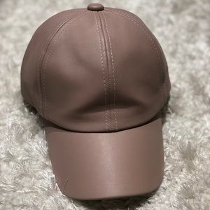 Accessories - Blush colored leather baseball cap